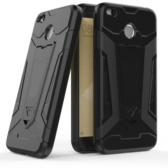 Dual Layer Robot Armor Case Cover For Xiaomi Redmi 4X TPU Bumper PC Back Hybrid Kickstand Black