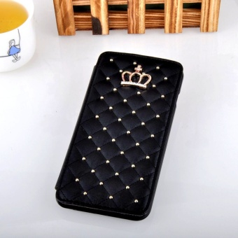 E-leen Luxury Crown Rivet Rhinestones Wallet Leather Phone Case Bag for Apple iPhone 5