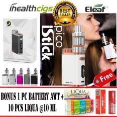 Eleaf Istick Pico NEW GOLD EDITION Siap Pakai Full Starter Kit 75w Rokok Elektrik + Free 1 Pc Baterai AWT + Free 10 Pc Liqua E-Liquid Refill