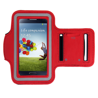 ELENXS Sports Jogging Gym Arm Band Cover Case For Samsung Galaxy S3 / S4 / S5 / M7 Running Cool Nylon Flexible Red