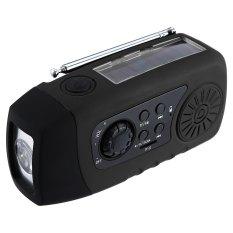 Emergency Solar Hand Crank FM Radio MP3 Player Flashlight Phone Charge (Black)