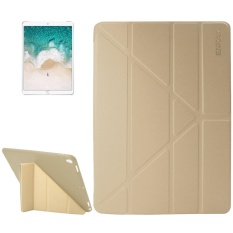 ENKAY for iPad Pro 10.5 inch Lambskin Texture + Silicone Bottom Case Horizontal Deformation Flip Leather Case with Three-folding Holder and Sleep Function(Gold) - intl