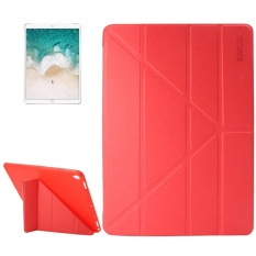 ENKAY for iPad Pro 10.5 inch Lambskin Texture + Silicone Bottom Case Horizontal Deformation Flip Leather Case with Three-folding Holder and Sleep Function(Red) - intl