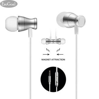 EsoGoal Wired Earphone In-Ear Magnetic Headphone Stereo Kebisingan Membatalkan Earbud Olahraga Headset dengan MIC