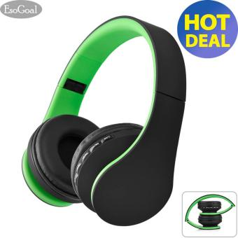 Esogoal Wireless Bluetooth Headphone Foldable Headset Noise Isolation Over Ear Earphone with Mic (Hijau + Hitam)