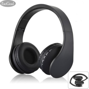 Esogoal Wireless Bluetooth Headphone Foldable Headset Noise Isolation Over Ear Earphone with Mic, (Hitam)