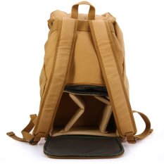 F15 Canvas Camera Backpack For Canon Sony Nikon DSLR (Khaki) (Intl)