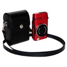 Fashion Portable PU Leather Messenger Shoulder Camera Bag Accessory For Casio Leica Black