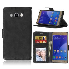 Fashion Protective Stand Wallet Purse Credit Card ID Holders Magnetic Flip Folio TPU Soft Bumper Leather Case Cover for Samsung Galaxy J7 2016 / J710 - intl
