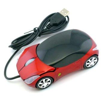 Ferrari Car Shaped Optical USB Mouse (Red)