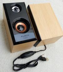 Fleco Speaker PC Mini USB 2.0 Wooden F-017 - Cokelat