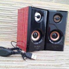 Fleco Speaker PC Mini USB 2.0 Wooden F-017 - Merah