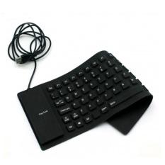 Foldable USB Flexible Keyboard - Hitam + OCEAN 2.4GHz Wireless Optical Mouse - Putih