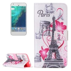 For Google Pixel Flower And Tower Pattern Horizontal Flip Leather Case With Card Slots and Wallet and Holder - intl