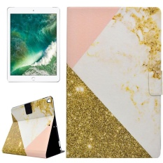 For iPad Pro 10.5 inch PU+TPU Gold and Pink Marble Pattern Horizontal Flip Leather Case with Holder and Card Slots - intl