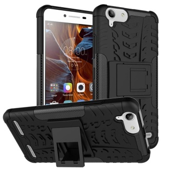 For Lenovo K5 K5Plus Case, 3 in 1 Tyre Grain Shockproof PhoneHousing With Foldable Stand Holder TPU + PC Back Cover Case forLenovo Vibe K5 / K5 Plus - intl