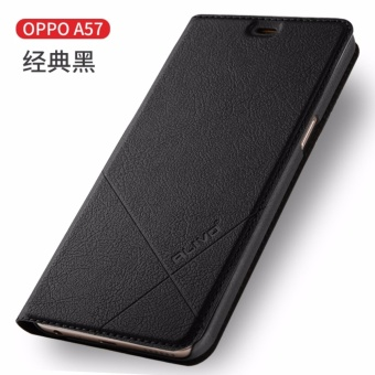 For OPPO A57 Flip Type Leather Cover Case Luxury Pu Leather Case(Black) - intl