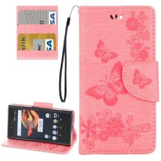 For Sony Xperia X Compact Butterflies Embossing Horizontal Flip Leather Case With Holder and Card Slots and Wallet and Lanyard(Pink) - intl