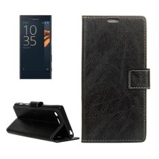 For Sony Xperia X Compact Crazy Horse Texture Horizontal Flip PU Leather Case With Magnetic Buckle and Holder and Card Slots and Wallet and Photo Frame(Black) - intl
