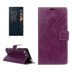For Sony Xperia X Compact Crazy Horse Texture Horizontal Flip PU Leather Case With Magnetic Buckle and Holder and Card Slots and Wallet and Photo Frame(Purple) - intl