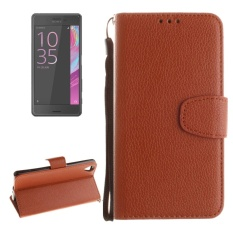 For Sony Xperia X Performance Litchi Texture Horizontal Flip PU Leather Case With Holder and Card Slots and Wallet and Photo Frame and Lanyard(Brown) - intl