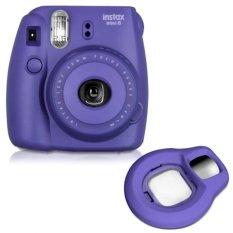 Fujifilm Fuji Instax Mini 8 kamera film foto instan (grape) + dekat lensa