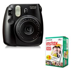 Fujifilm Instax Mini 8 Instant Camera (Black) + Fuji White Edge Instant 20 Film