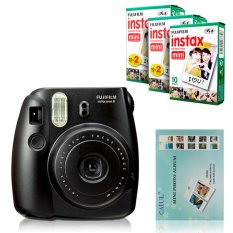 Fujifilm Instax Mini 8 Instant Camera (Black) + Fuji White Edge Instant 50 Film + Hanging Wall Album (Intl)