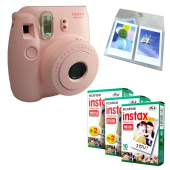 Fujifilm Instax Mini 8 Instant Camera (Pink) + Fuji White Edge Instant 50 Film + Hanging Wall Album
