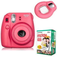 Fujifilm Instax Mini 8 Instant Camera (Raspberry) + Fuji White Edge Instant 20 Film + Close-up Lens