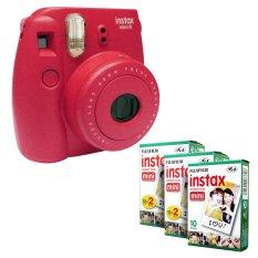 Fujifilm Instax Mini 8 Instant Camera (Raspberry) + Fuji White Edge Instant 50 Film (Intl)