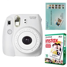 Fujifilm Instax Mini 8 Instant Camera (White) + Fuji White Edge Instant 10 Film + Hanging Wall Album