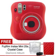 Fujifilm Kamera Instax 25s - Merah + Gratis Crystal Case + Diamond Pastel Album