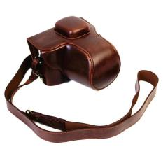 Full Protection Bottom Opening Version Protective PU Leather Camera Case Bag With Tripod Design Compatible For Olympus PEN Lite E-PL7 EPL7 With Shoulder Neck Strap Belt Dark Brown - Intl