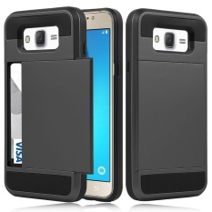 Galaxy J710 Wallet Case Flexible Shockproof Rubber Bumper Armor Hard Case Cover with Card Holder Slot for Samsung Galaxy J7 2016 SM-J710 - intl