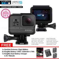GoPro Hero5 Black 4K Ultra HD Camera (Resmi IndoGP) + SanDisk Extreme 32Gb 90Mb/s + 2pcs KingMa Battery 3.85V 1220mAh 4.7Wh + KingMa Dual Battery Charger 4.4V 750mAh