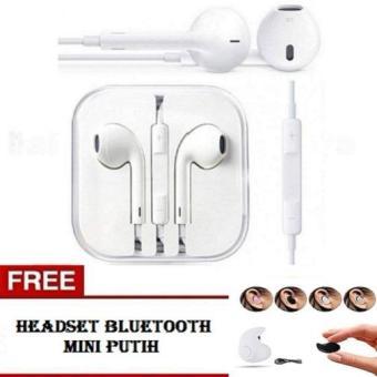 Handsfree IPhone 4 5 6 Earphone / Headset General Dengan Mic - Putih + FREE Headset