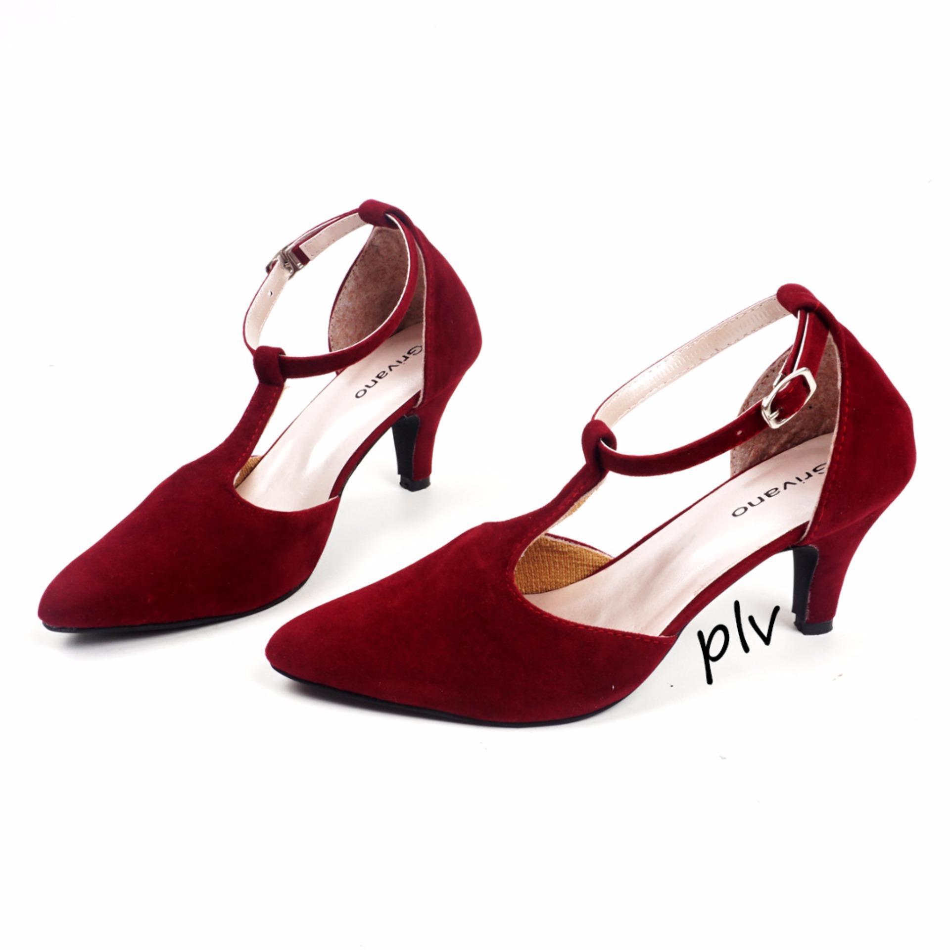Sepatu High Heels Pantofel Kerja Pesta Wanita T-Strap JL03 - Maroon