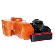 High Quality Portable PU Leather Digital Camera Case For Canon EOS 60.70.18mm-200mm Lens With Camera Shoulder Strap (Brown)
