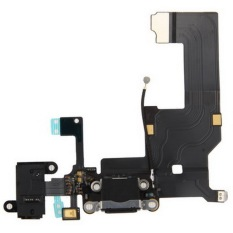 High Quality Version Tail Connector Charger Flex Cable + Headphone Audio Jack Ribbon Flex Cable For IPhone 5 (Black)