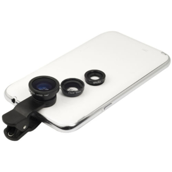 HKS 3 In 1 Universal Clip On Camera Lens For Cell Phones (Black)