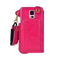 HKS Neck Strap Pouch Card Case Leather For Samsung Galaxy S5 Rose (Intl)