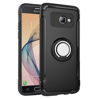 Hybrid Armor Case For Samsung Galaxy J5 Prime / On5 (2016)Anti-slip Carbon Fiber TPU + PC Back Cover with Ring Grip/StandHolder Black - intl