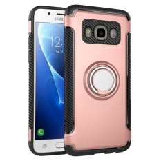 Hybrid Armor Case For Samsung Galaxy J7 (2016) J710 Anti-slip Carbon Fiber TPU + PC Back Cover with Ring Grip/Stand Holder Rose Gold - intl