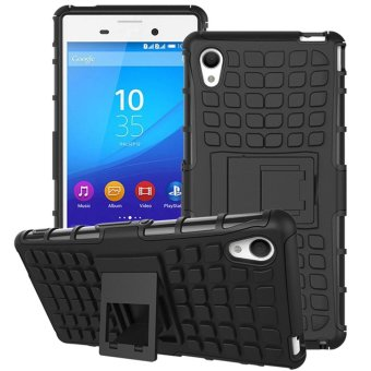 Hybrid Armor Rugged Hard Case Stand Cover For Sony Xperia M4 Aqua Black - intl