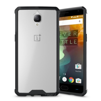 Hybrid Slim Grip TPU Bumper Transparent Hard Back Case Cover forOnePlus 3 / 3T Black - intl