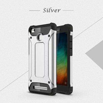 iCase Slim Armor Carbon Fiber 2 Layer TPU Soft Silicone Anti-knock Back Case For Xiaomi Redmi 3s / Redmi 3 Pro - Silver
