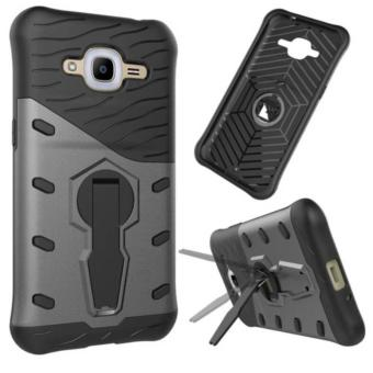 iCase Sniper Armor Dual Layered TPU+PC Hybrid Back Cover Phone Case with 360 Kickstand for Samsung Galaxy J2 Prime -Hitam