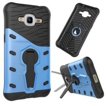 iCase Sniper Armor Dual Layered TPU+PC Hybrid Back Cover Phone Case with 360 Kickstand for Samsung Galaxy J5 - Biru