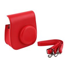 Instant Camera Leather Case Bag For Polaroid Photo Camera Leather Case Bag (Red)